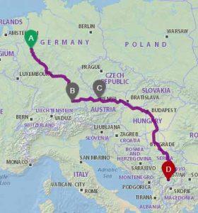 Udhetim Dortmund-Tirane via Ungarn