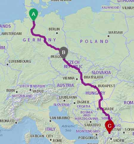 Linja me autobus Hamburg-Shkup nepermjet Hungarise