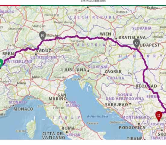 Busreise Schweiz - Mazedonien via Ungarn