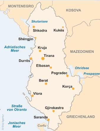 Albanien Karte